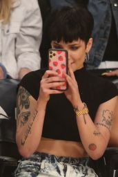 Halsey - Basketball Game at the Staples Center in Los Angeles 01/13/2020