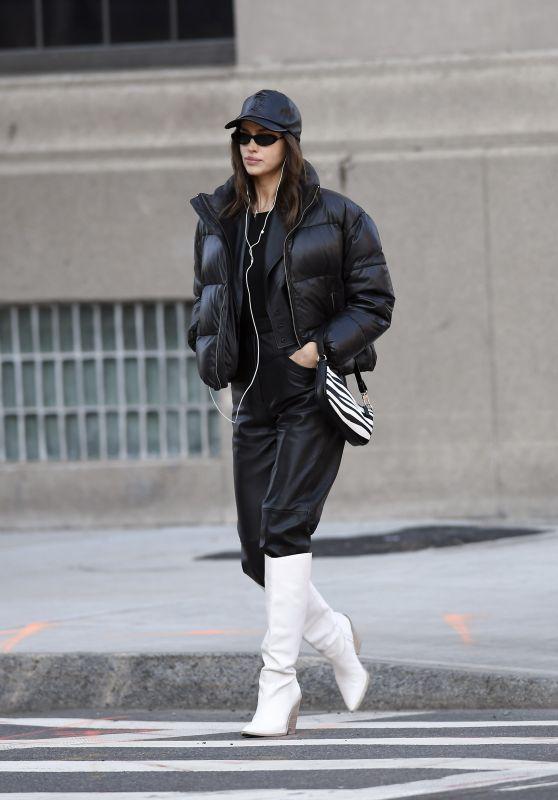 Irina Shayk in Puffer Jacket - New York 01/29/2020