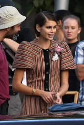 Kaia Gerber Poses With a Classic Car - Photoshoot in Miami 01/13/2020