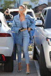 Khloe Kardashian in All-Denim Ensemble 01/22/2020