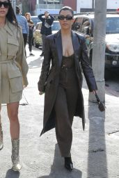 Kourtney Kardashian in Chrome Leather Overcoat 01/24/2020