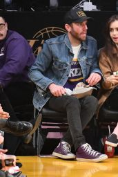 Lily Collins - Cleveland Cavaliers vs LA Lakers at Staples Center in Los Angeles 01/13/2020