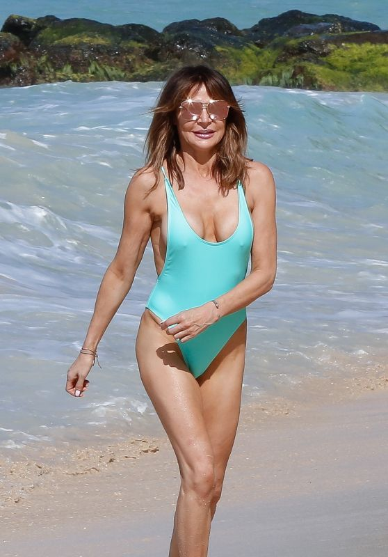 Lizzie Cundy in a Blue Swimsuit in Barbados 01/01/2020