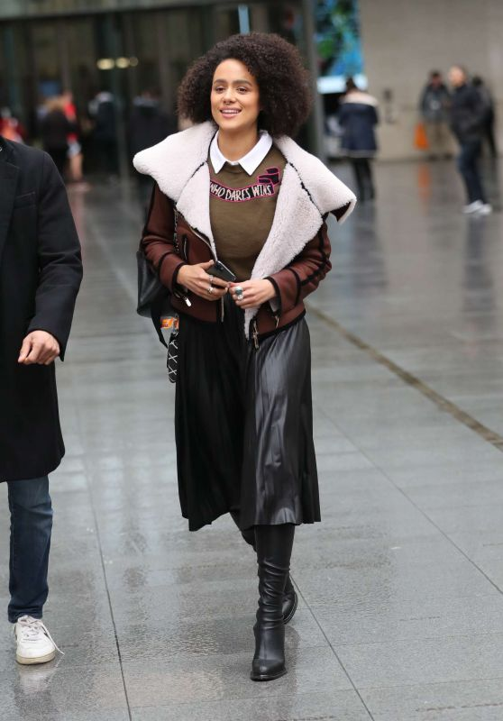 Nathalie Emmanuel Style - Exiting BBC Studios in London 01/14/2020