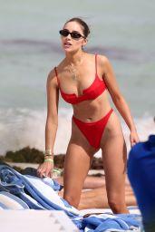 Olivia Culpo in a Red Bikini - St. Barth 01/10/2020