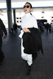 Adriana Lima in Travel Outfit - LAX Airport in Los Angeles 02/10/2020