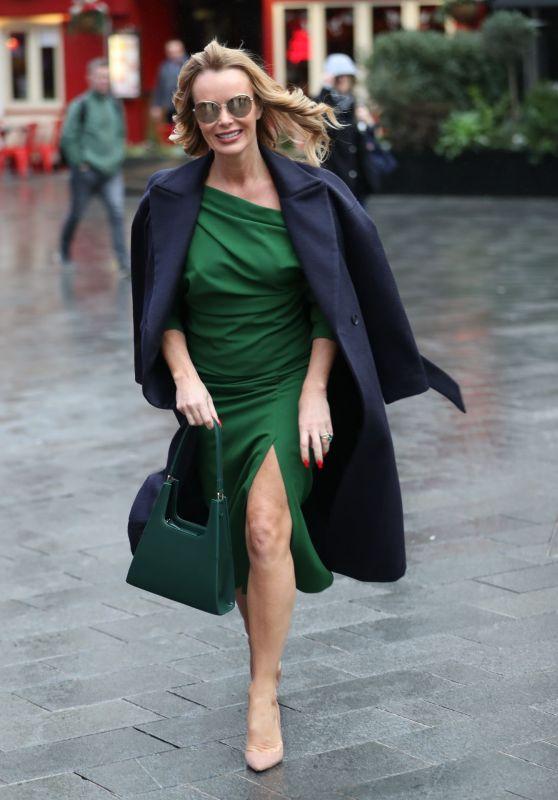 Amanda Holden in a Green Thigh-Split Dress 02/24/2020
