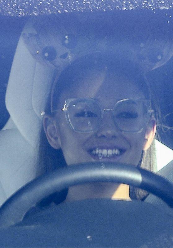 Ariana Grande in a Car in LA 02/11/2020