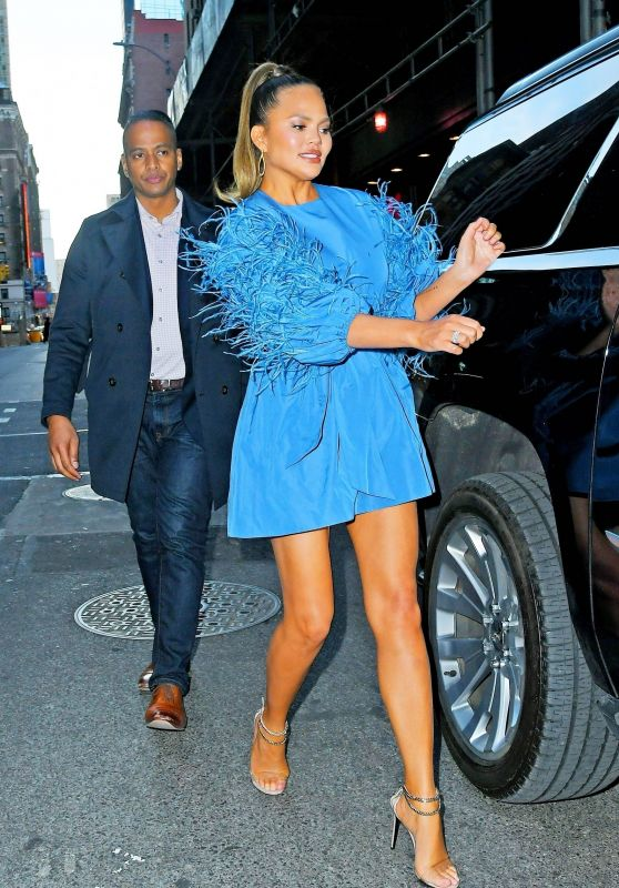 Chrissy Teigen in Mini Dress - NYC 02/19/2020