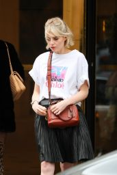 Lucy Boynton Street Style - Leaving Her Hotel in Paris 02/27/2020