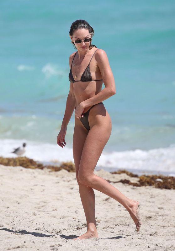 Candice Swanepoel in a Bikini - Beach in Miami 03/16/2020