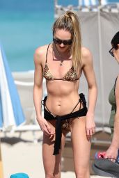 Candice Swanepoel in Leopard Print Bikini - Beach in Miami 03/01/2020