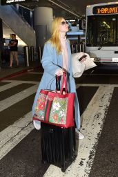 Elle Fanning in Travel Outfit - LAX in LA 02/29/2020