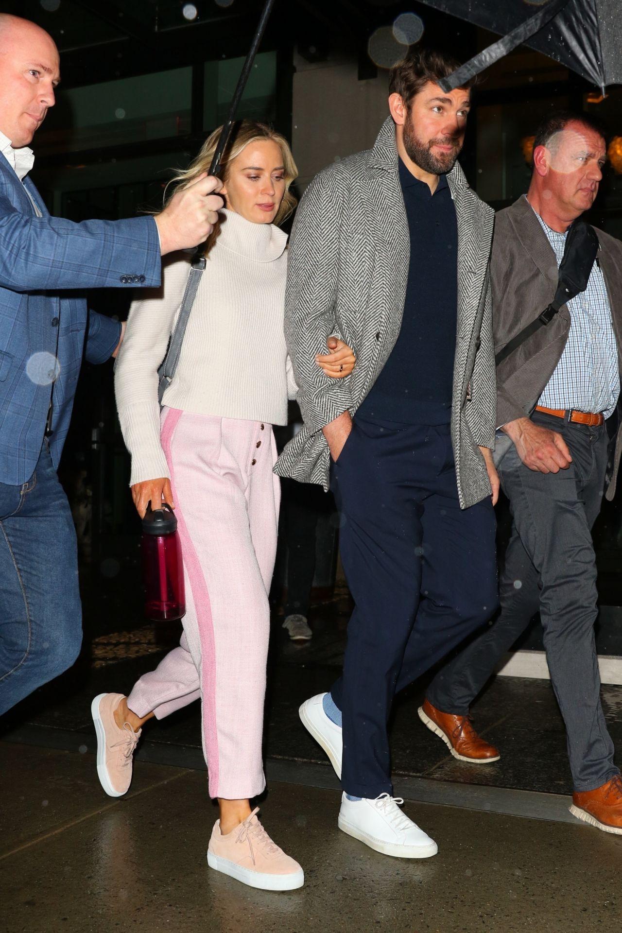 Emily Blunt and John Krasinski - Leaving the Crosby Hotel ...