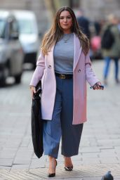 Kelly Brook in a Pink Coat and Smart Trousers - London 03/02/2020