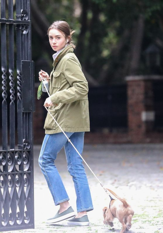 Lily Collins - Takes Her Dog For a Stroll in Beverly Hills 03/10/2020