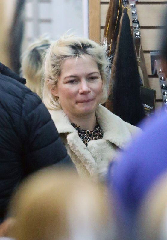 Michelle Williams - Heads to a Salon Makeup Free in NYC 03/01/2020