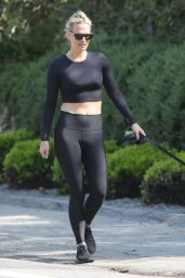 Molly Sims in a Crop Top and Leggings - Walking Dog in Los Angeles 03/29/2020