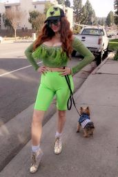 Phoebe Price in a Neon Green Look - Beverly Hills 03/05/2020