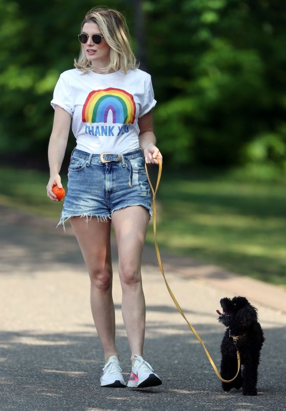 Ashley James Leggy in Shorts - Walking Her Dog 04/24/2020