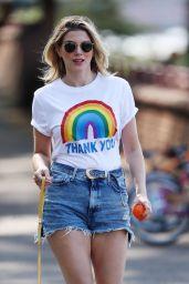 Ashley James Leggy in Shorts - Walking Her Dog 04/24/2020