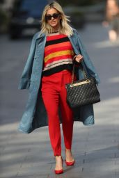 Ashley Roberts in Colourful Top, Red Trouser and YSL Handbag - London 04/07/2020