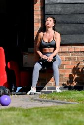 Danielle Lloyd - Working Out in Her Yard in Liverpool 04/05/2020