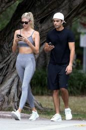 Devon Windsor in Sports Bra and Gray Leggings - Miami 04/09/2020