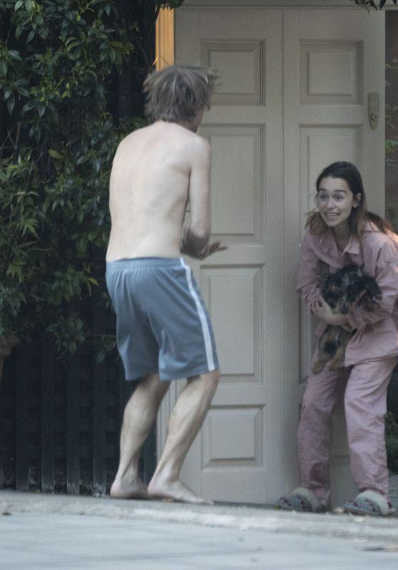Emilia Clarke in Front of a Door in London 04/23/2020