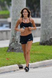 Kelly Bensimon in a Bra Top and Shorts - Jogs in Palm Beach 04/07/2020