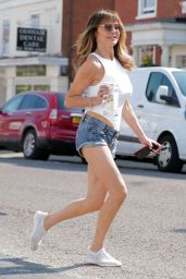 Lizzie Cundy in Skimpy Denim Hotpants and White Bodysuit in London 04/20/2020