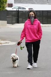 Lucy Hale - Walking Her Dog in Studio City 04/12/2020