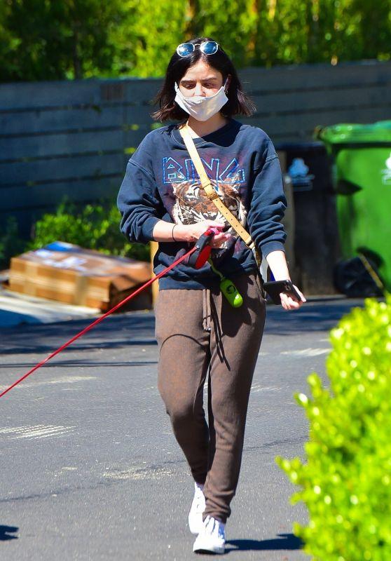 Lucy Hale - Walking Her Dog in Studio City 04/22/2020