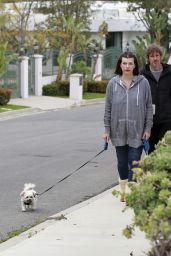 Milla Jovovich - Walking Her Dogs in Beverly Hills 04/20/2020