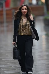 Myleene Klass in a Gold Blouse and Black Pantsuit - Smooth Radio in London 04/06/2020