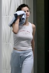 Selena Gomez in White Tank Top and Sweatpants - Los Angeles 04/01/2020