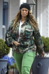 Tyra Banks in Custom Camo Military Jacket - Erewhon Organic in LA 04/06/2020