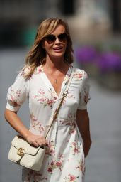 Amanda Holden in a Cream Floral Summer Dress and Comfy Shoes 05/18/2020