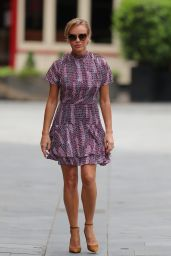 Amanda Holden in a Pink Patterned Minidress - London 05/22/2020