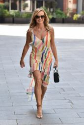 Amanda Holden in a Racy Strappy Rainbow Print Dress - London 05/06/2020