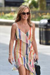 Amanda Holden in a Racy Strappy Rainbow Print Dress - London 05/06/2020