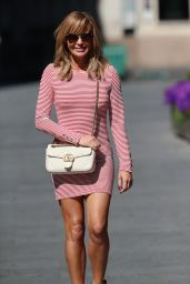 Amanda Holden Shows Off Her Legs in a Tight Red and White Stripe Mini Dress - London 05/12/2020