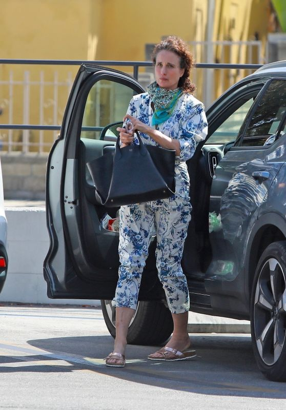 Andie MacDowell in a Vibrant Floral Jumpsuit 05/27/2020