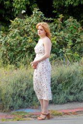 Ariel Winter in a White Spaghetti Strap Midi Dress 05/12/2020