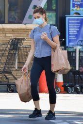 Ashley Greene in a Plain Grey T-Shirt and Pair of Black Capri Style Leggings 05/27/2020