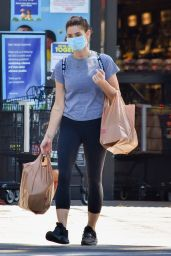 Ashley Greene in a Plain Grey T-Shirt and Pair of Black Capri Style Leggings 05/27/2020