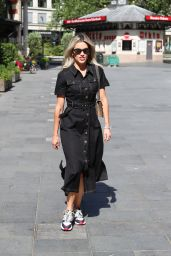 Ashley Roberts in a Denim Belted Midi Dress 05/28/2020