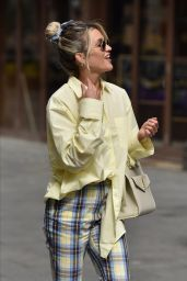 Ashley Roberts in a Pale Yellow Shirt and Gingham Trousers 05/13/2020