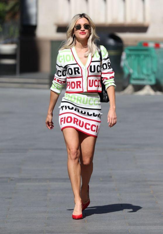 Ashley Roberts in a Striking Logo-Print Mini-Skirt and Skyscraper Heels 05/20/2020