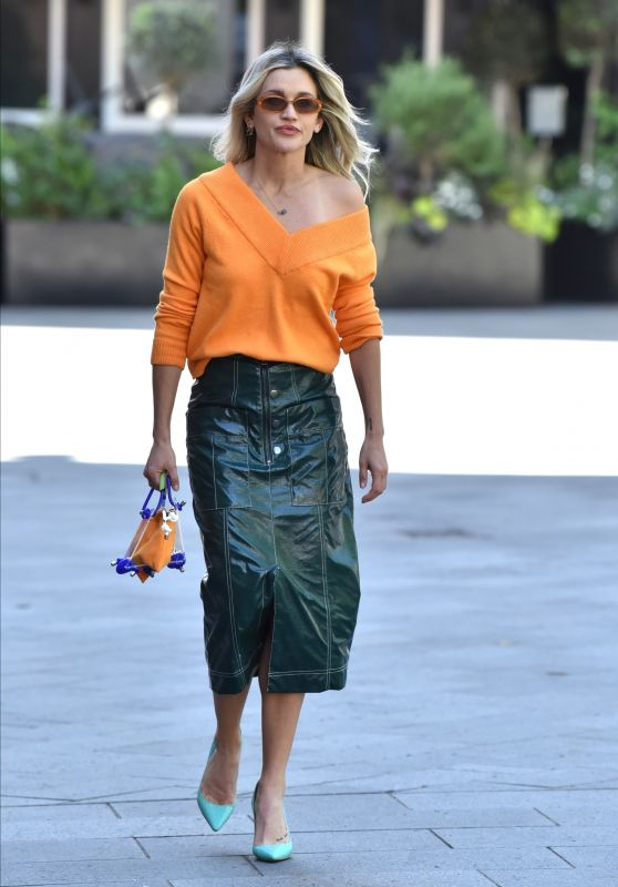 Ashley Roberts in Green Leather Pencil Skirt and Orange Sweater - London 05/12/2020